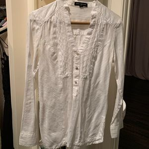 Express White V Neck Button Down Silver Buttons xs